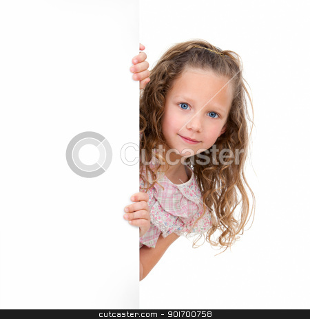 Portrait of girl holding copy space. stock photo, Close up Portrait of little girl holding copy space. Isolated on white background. by karel noppe