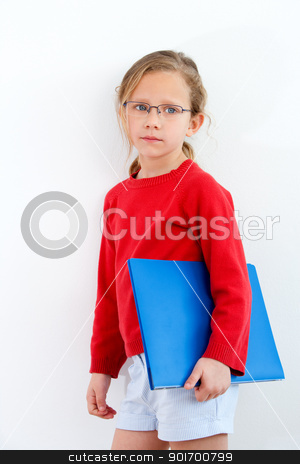 Young student with notebook. stock photo, Portrait of cute blond girl holding blue notebook. by karel noppe