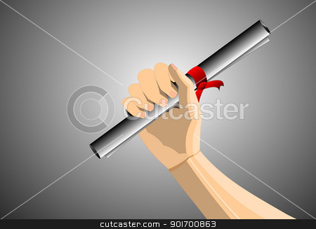Power of Wisdom stock photo, A Degree in Hand on a shaded Background by Rahul Kumar