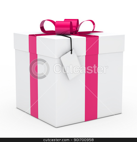 gift box pink ribbon stock photo, christmas white gift box pink ribbon signboard by d3images
