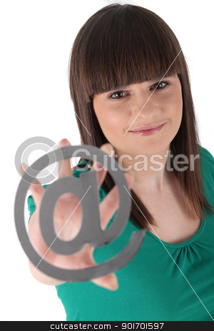 Teenager holding the at symbol stock photo, Teenager holding the at symbol by photography33