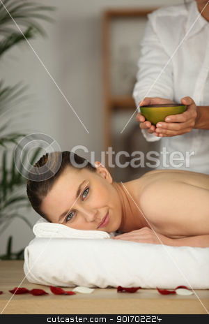 Woman having a back massage stock photo, Woman having a back massage by photography33