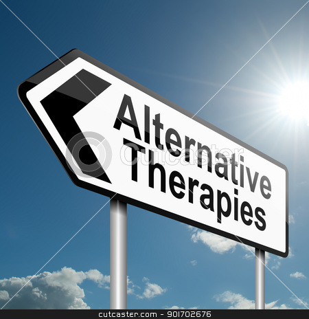 Alternative therapies concept. stock photo, Illustration depicting a road traffic sign with an alternative therapies concept. Blue sky background. by Samantha Craddock