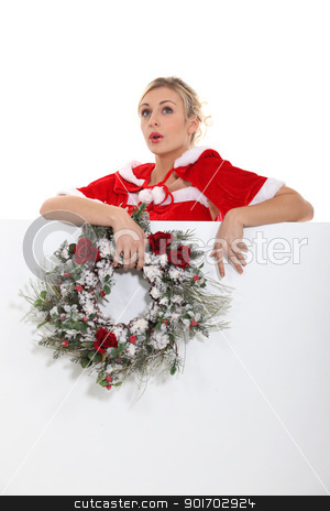 Woman singing Christmas carols stock photo, Woman singing Christmas carols by photography33