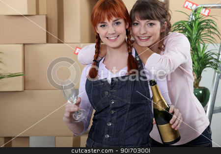 Two women celebrating house move stock photo, Two women celebrating house move by photography33