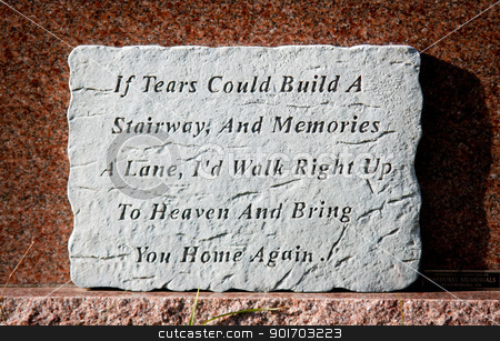 Tears tombstone stock photo, Tears poem memories in a graveyard by Angela Schmidt