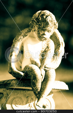 Thinking angel stock photo, Angel with crossed hands sitting on bench by Angela Schmidt