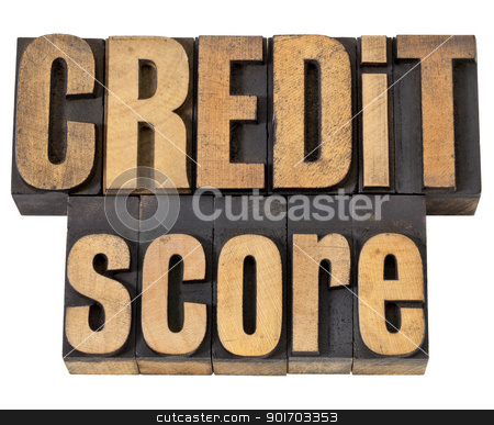 credit score in wood type stock photo, credit score  - isolated text in vintage letterpress wood type by Marek Uliasz