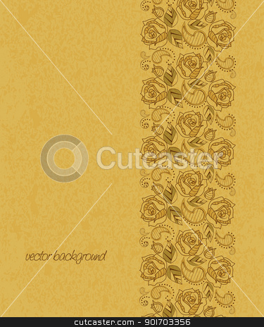roses stock vector clipart, grunge background with flowers decoration by Miroslava Hlavacova