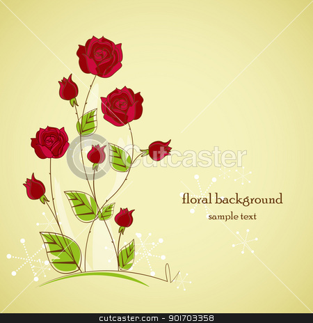 garden stock vector clipart, Rose garden with place for text by Miroslava Hlavacova