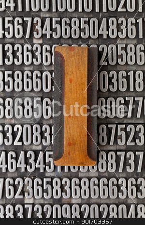 number one - numerical abstract stock photo, number one in vintage letterpress wood type against background of random metal numbers by Marek Uliasz