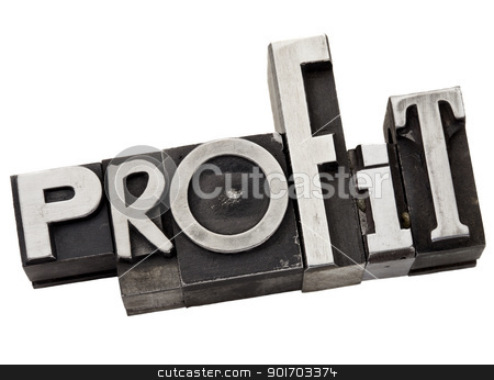 profit word in metal type stock photo, profit - business concept - isolated word in  grunge letterpress metal type by Marek Uliasz
