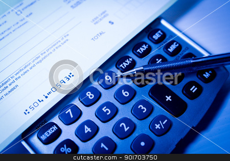 Calculator deposit slip stock photo, Calculator with deposit slip and a pen by Angela Schmidt