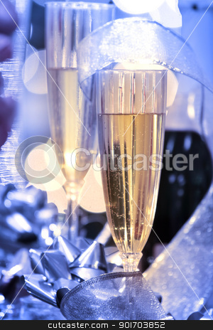 Champaigne glass stock photo, Two champaigne glasses with christmas decoration by Sreedhar Yedlapati
