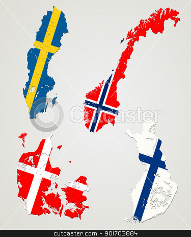 Nordic countries stock vector clipart, Map and flags of four major nordic countries. Norway, Sweden, Finland and Denmark. by Richard Laschon