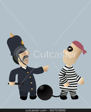 Cop and thief stock vector clipart, An image of a police officer chasing a thief by Richard Laschon