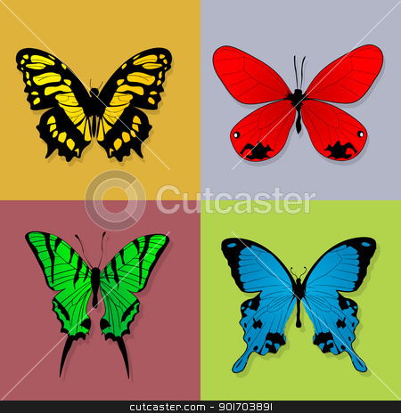 Four butterflies stock vector clipart, Four grunge style butterflies in squares. Isolated and grouped design elements. by Richard Laschon