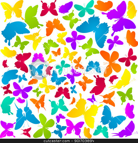 Butterflies in colors stock vector clipart, Background pattern with butterflies in colors over white by Richard Laschon