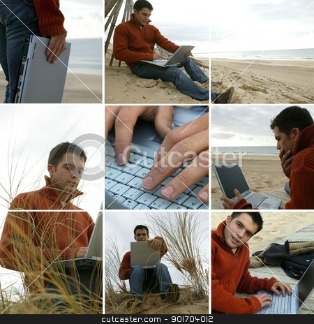 Collage of a man using his laptop by the sea stock photo, Collage of a man using his laptop by the sea by photography33