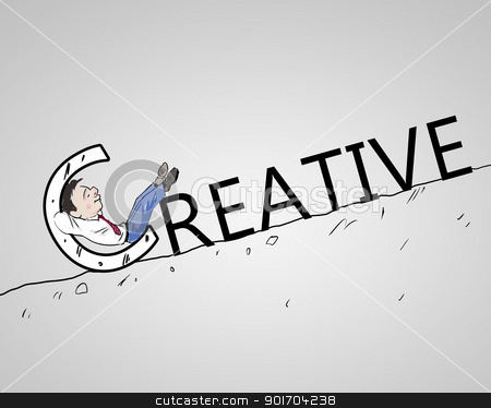 Businessman finding a creative solution stock photo, Drawing of a man looking for a creative solution by Sergey Nivens