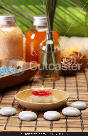Oils and candles stock photo, Take care about your body in SPA. Zen and relax by fikmik