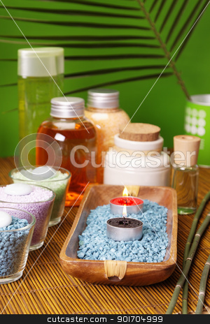 Oils and candles. Spa concept stock photo, Oils and candles. Spa concept by fikmik