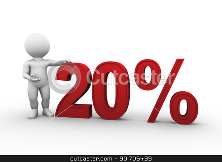 percent 20 stock photo, Bobby is presenting a discount percentage in red by Tristan3D