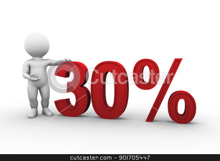 percent 30 stock photo, Bobby is presenting a discount percentage in red by Tristan3D