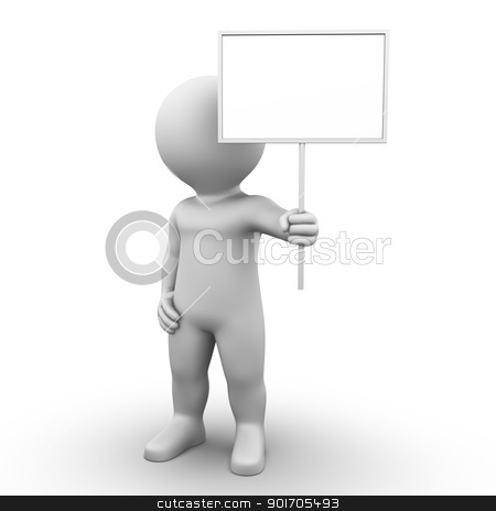 Post Sign stock photo, Bobby is holding a signpost in his hand by Tristan3D