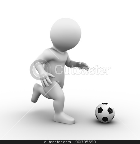 soccer football stock photo, Bobby is playing soccer with a standard football - side view by Tristan3D