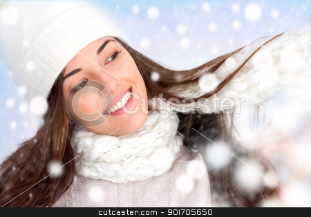 Winter girl with snowflakes stock photo, Close up of attractive winter girl with snowflakes. by karel noppe
