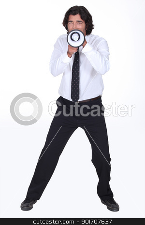 Man with megaphone stock photo, Man with megaphone by photography33