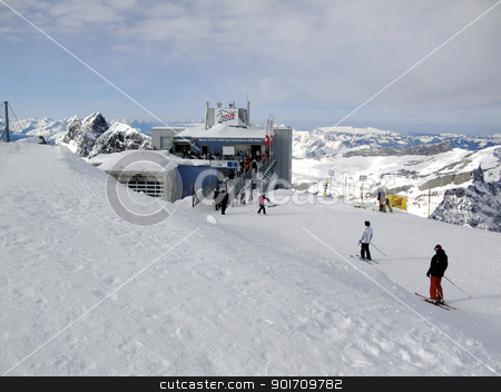 skiing  track from the top of titlis stock photo, skiing  track from the top of titlis by momo_leif
