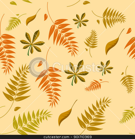 A seamless autumn background with different shaped leaves in var stock vector clipart, A seamless autumn background with different shaped leaves in various autumn browns. Can be infinitely tiled in all directions by Mike Price