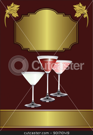 A Drinks Menu Template stock vector clipart, A Drinks Menu Template with drinks glasses on a maroon and gold background by Mike Price