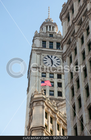 Wrigley building at sunset stock photo, Top of Wrigley Building in Chicago in perspective shot taken from below by Steven Heap