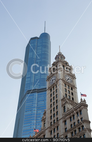 Wrigley building and Trump tower Chicago stock photo, CHICAGO - MAY 14: Trump Tower looms behind Wrigley Building in Chicago on May 14, 2012. Trump Tower tops out at 1389 feet by Steven Heap