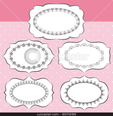 Set of ornate vector frames stock vector clipart, Set of ornate vector frames and ornaments by meikis