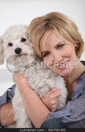 portrait of a woman with dog stock photo, portrait of a woman with dog by photography33