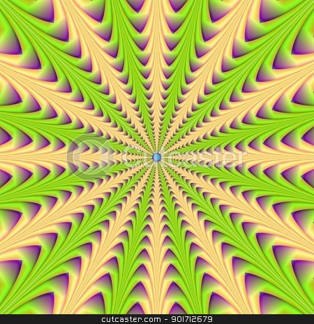 Centre Point stock photo, Digital abstract image with a centre pointing radial design in green yellow and purple by Colin Forrest