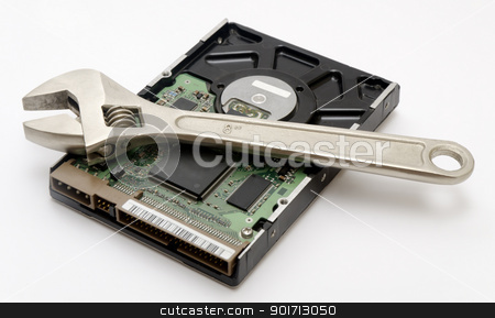 Repairing an External Hard Drive stock photo, Repairing an External Hard Drive by Turhan Yaln