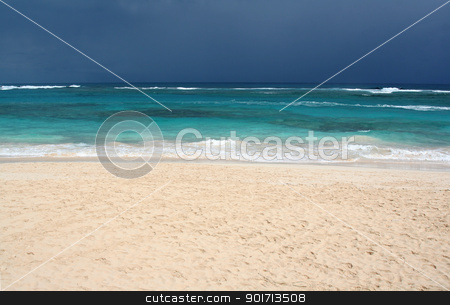 Dramatic Tropical Beach stock photo, The tropical beach of Punta Cana, Dominican Republic.  Shot on an overcast day. by Chris Hill