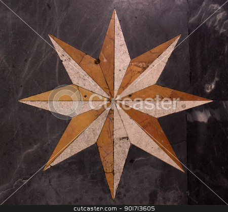 Floor Star stock photo, A star pattern on a marble floor. by Chris Hill