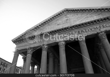 The Facade of the Pantheon stock photo, The facade of the Pantheon in Rome, Italy.  The Greek meaning of the word 'Pantheon' is an adjective meaning 'to every god'  It was built around 126 AD by emporer Hadrian.  by Chris Hill