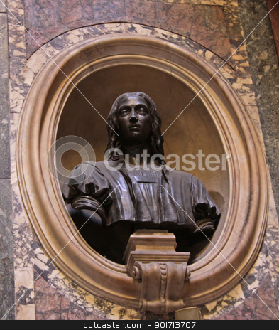 Bust of Raphael stock photo, The bust of Raphael (Raffaello Sanzio da Urbino) that sits above his coffin, in his resting place in the Pantheon in Rome, Italy.  by Chris Hill
