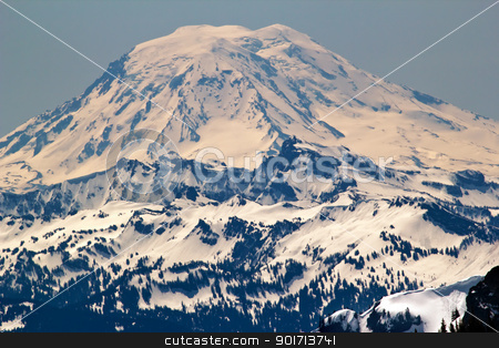 Snowy Mount Saint Adams from Crystal Mountain stock photo, Snowy Mount Saint Adams Mountain Glacier from Crystal Mountain by William Perry