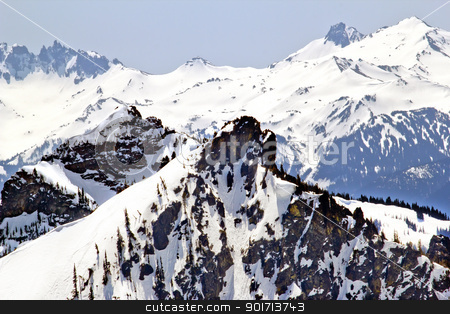 Snowy Ridge Lines Crystal Mountain stock photo, Snowy Ridge Lines Mountain Glacier Crystal Mountain Rocks Snow Trees by William Perry