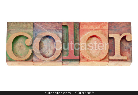 color word in wood type stock photo, color - isolated word in vintage letterpress wood type by Marek Uliasz