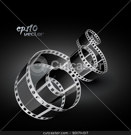 vector film reel stock vector clipart, vector realistic 3d film reel by pinnacleanimates