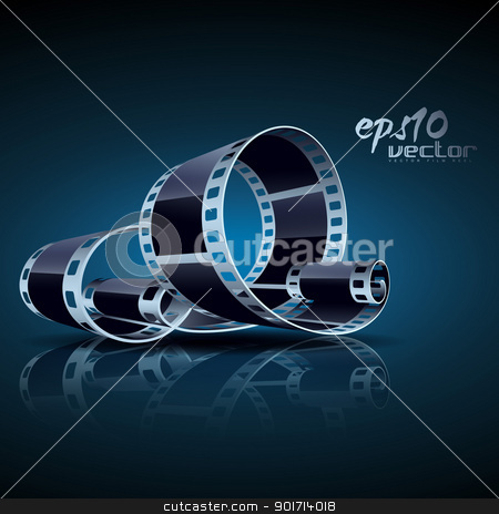 vector film reel stock vector clipart, realistic vector 3d film reel by pinnacleanimates